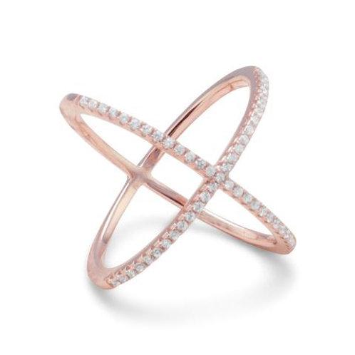 18 Karat Rose Gold Plated 'X' Ring