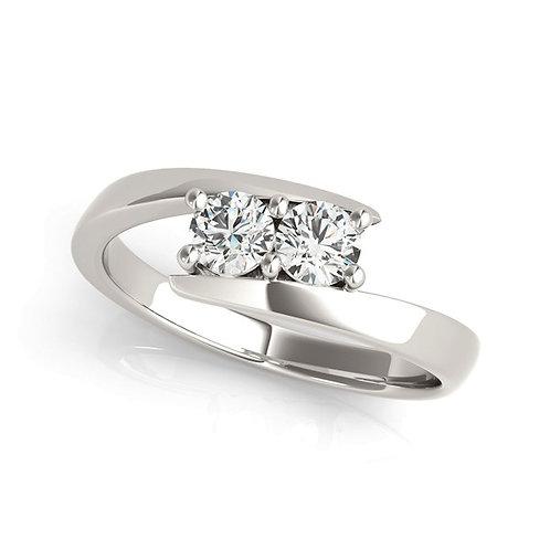 14k White Gold Round Two Stone Common Prong Diamond Ring (1/2 cttw)