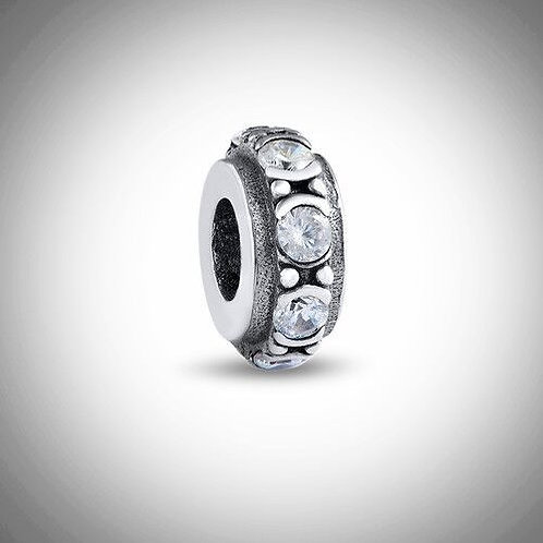 Round Spacer Bead with Cubic Zirconia