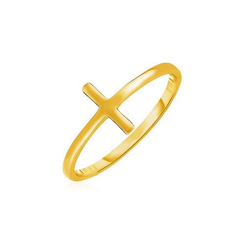 14k Yellow Gold Cross Motif Ring