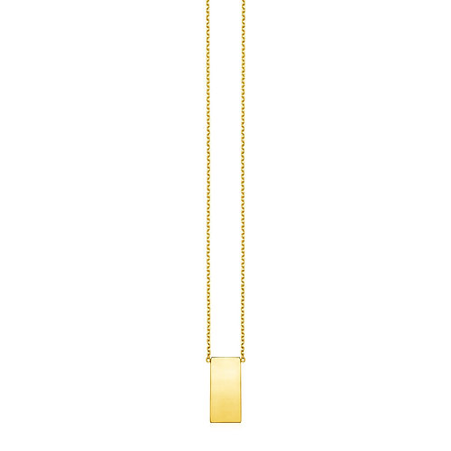 14k Yellow Gold Necklace with Polished Bar Pendant