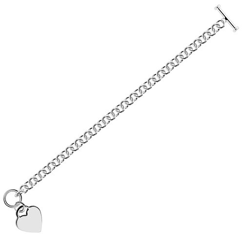 Sterling Silver Rhodium Plated Rolo Chain Bracelet with a Heart Charm