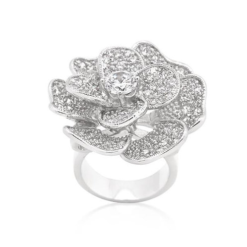 Flower Cubic Zirconia Cocktail Ring