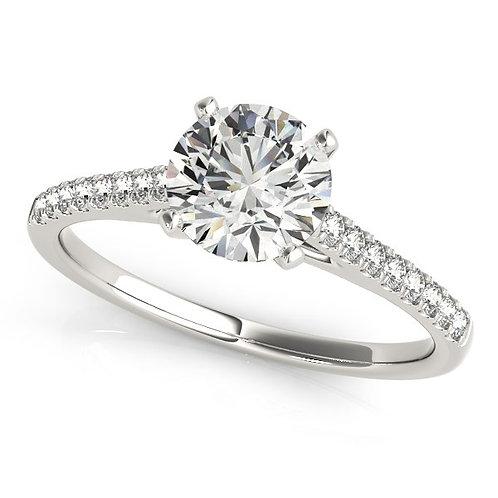 14k White Gold Pronged Round Diamond Engagement Ring (1 5/8 cttw)