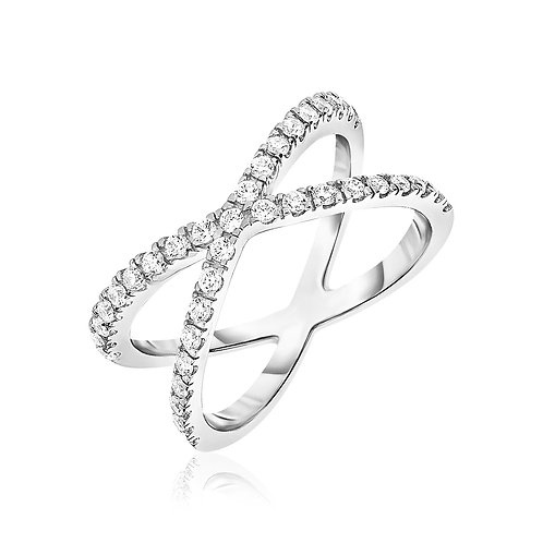 Sterling Silver X Motif Ring with Cubic Zirconias
