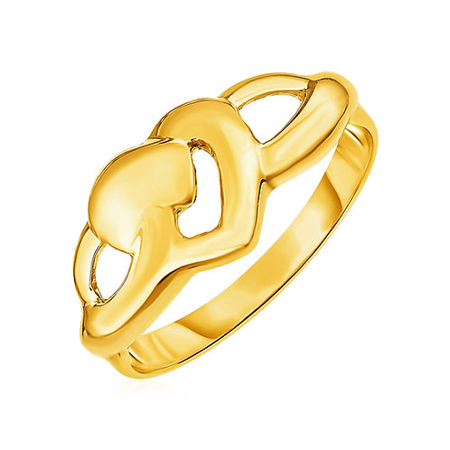 14k Yellow Gold Ring with Polished Open Heart