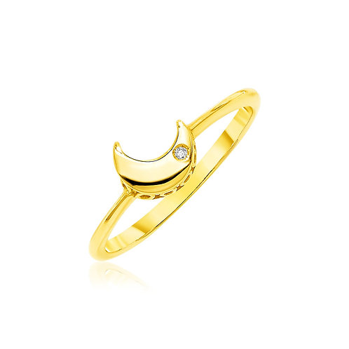 14k Yellow Gold Polished Moon Ring with Diamond