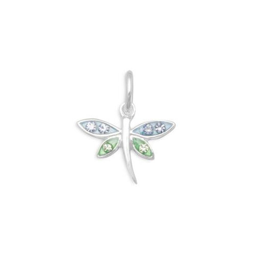 Dragonfly Charm with Crystals