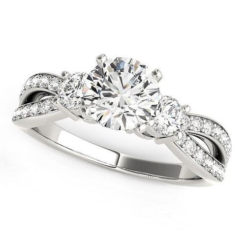 14k White Gold Split Shank Round Diamond Engagement Ring (1 5/8 cttw)