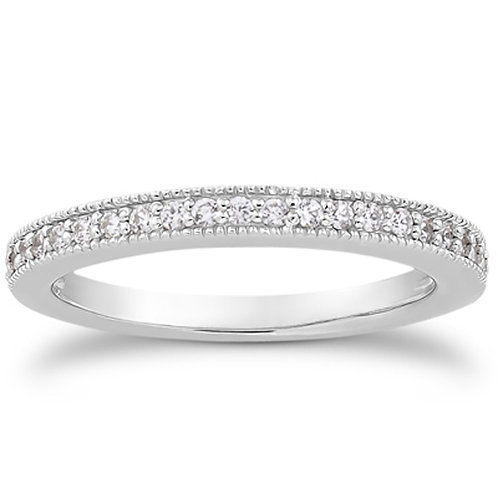 14k White Gold Pave Diamond Milgrain Wedding Ring Band Set 1/2 Around