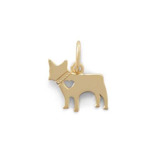 14 Karat Gold Plated Dog Charm