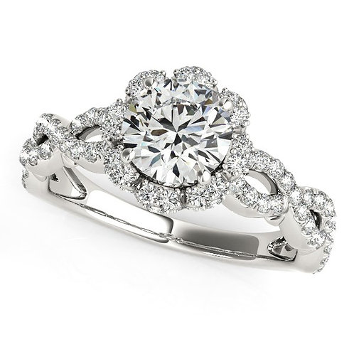 14k White Gold Flower Motif Split Shank Diamond Engagement Ring (1 5/8 cttw)