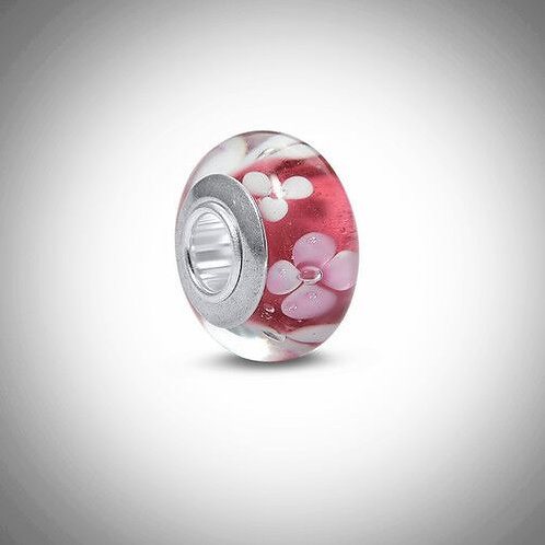 Light Red Glass Bead Charm
