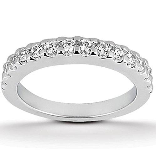14k White Gold Shared Prong Diamond Wedding Ring Band
