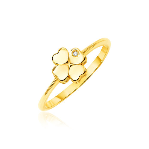 14k Yellow Gold Polished Four Leaf Clover Ring with Diamond