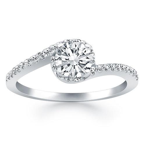 14k White Gold Bypass Swirl Diamond Halo Engagement Ring