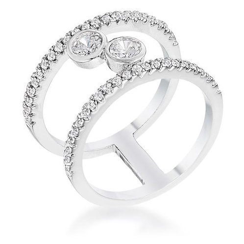 .86Ct Rhodium Plated Floating Circles CZ Ring