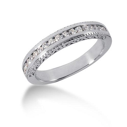 14k White Gold Vintage Style Engraved Diamond Channel Set Wedding Ring Band