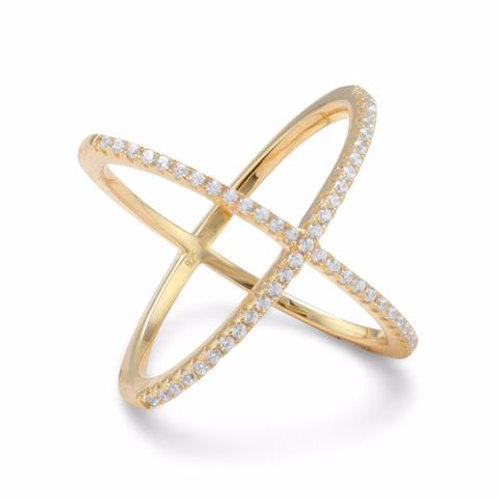 18 Karat Gold Plated 'X' Ring