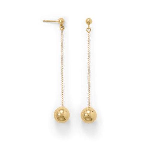 14 Karat Gold Plate Bead Drop Earrings