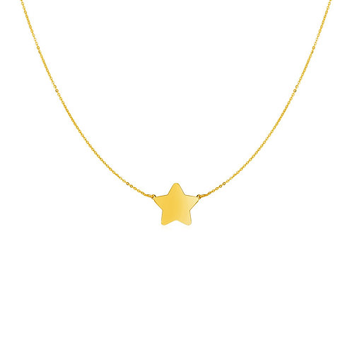 14k Yellow Gold Necklace with Five Pointed Star