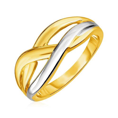 14k Two Tone Gold Braid Motif Ring