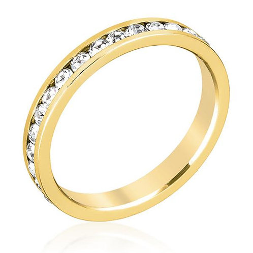 Stylish Stackable Crystal Gold Ring