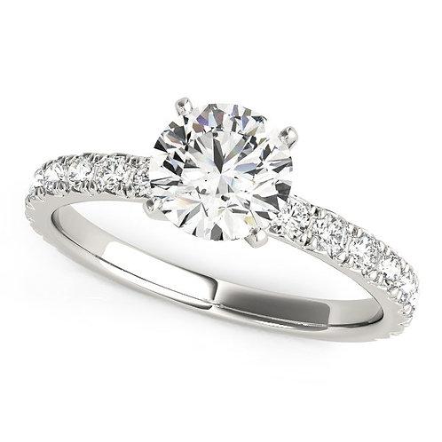 14k White Gold Single Row Shank Round Diamond Engagement Ring (1 1/3 cttw)