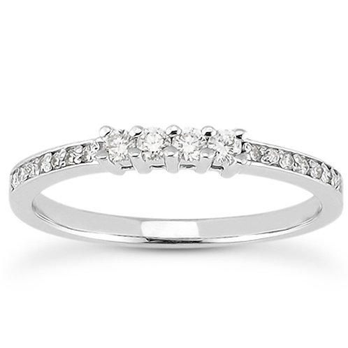 14k White Gold Wedding Band with Pave Set Diamonds and Prong Set Diamonds