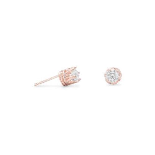 14 Karat Rose Gold Plated Crown Set CZ Earrings