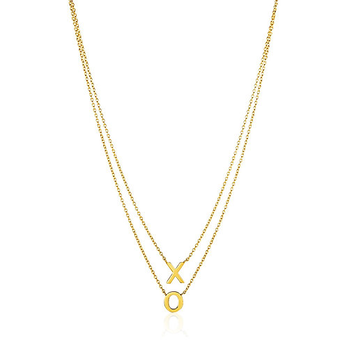 14k Yellow Gold Double-Strand Chain Necklace with''X'' and''O''