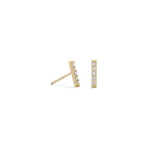 14 Karat Gold Plated Mini CZ Bar Studs