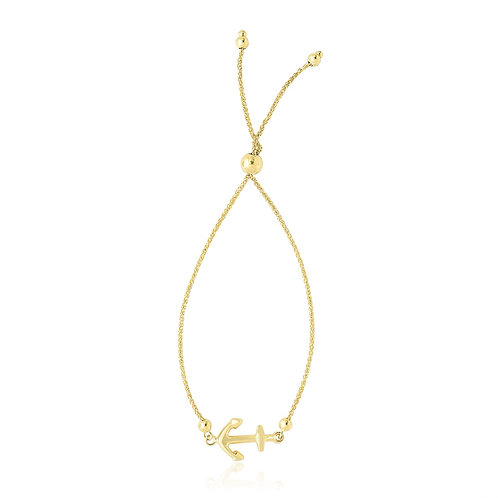 14k Yellow Gold Anchor Design Adjustable Lariat Bracelet