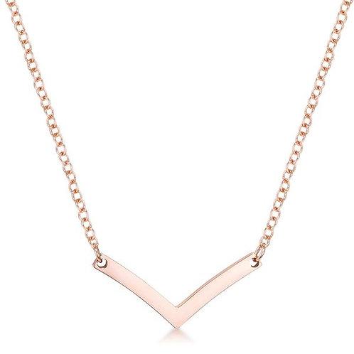 Rose Goldtone Chevron Necklace