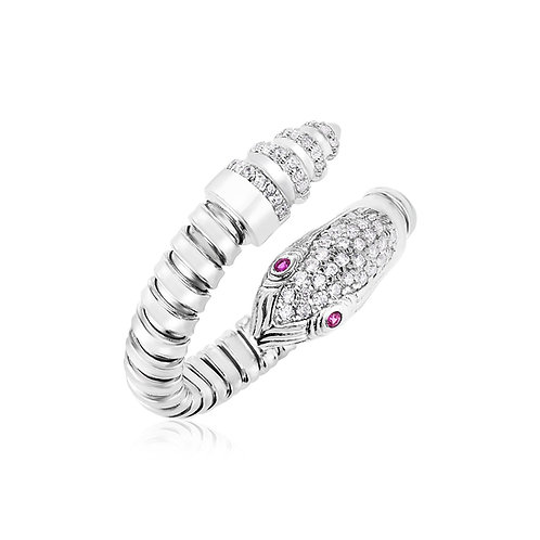 Sterling Silver Python Bypass Ring with White and Pink Cubic Zirconias