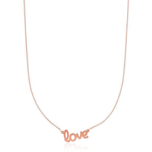 14k Rose Gold Script LOVE Necklace
