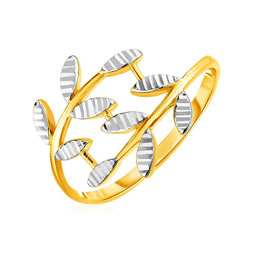14k Two Tone Gold Crossover Ring with Textured Leaves