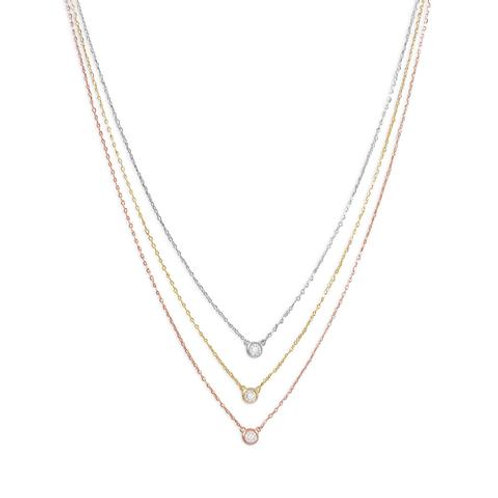Tri Tone Necklace with CZs