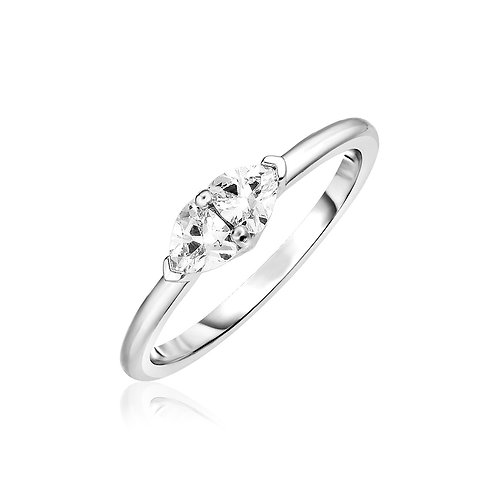 Sterling Silver Ring with Light Blue Cubic Zirconia