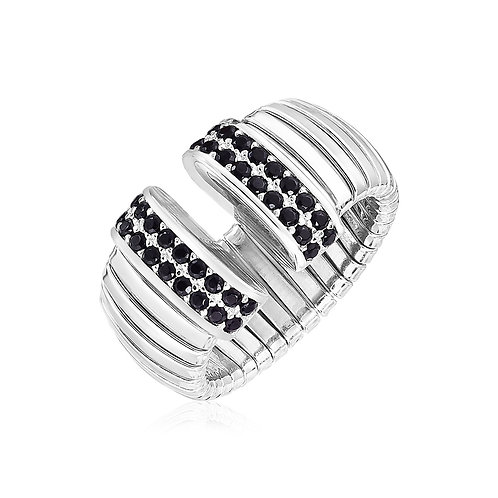 Sterling Silver Serpentine Style Ring with Black Cubic Zirconias
