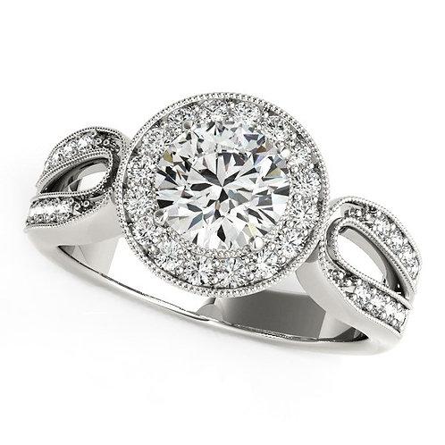 14k White Gold Teardrop Split Band Diamond Engagement Ring (1 1/3 cttw)