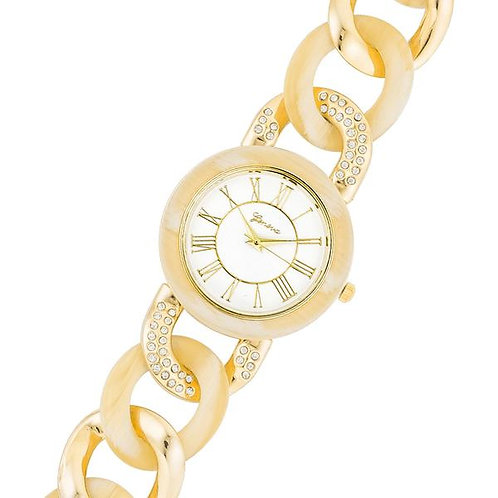 Gold Link Watch with Crystals