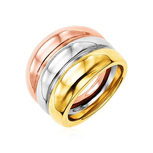 14k Tri Color Gold Polished Ring