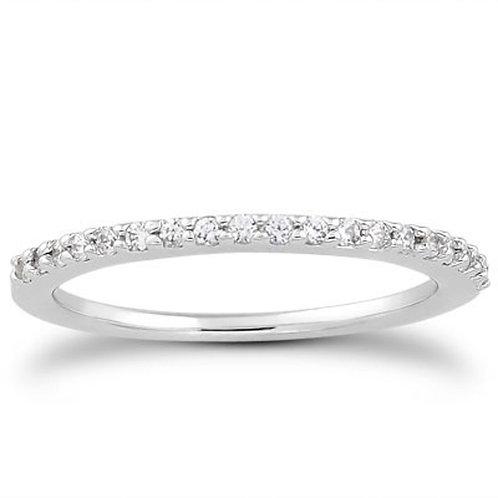 14k White Gold Slim Profile Diamond Micro Prong Diamond Wedding Ring Band