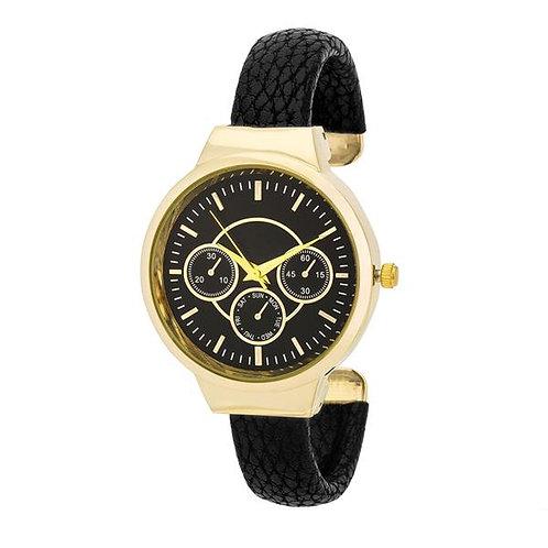 Reyna Gold Black Leather Cuff Watch
