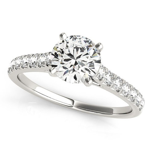 14k White Gold Single Row Band Diamond Engagement Ring (1 1/3 cttw)