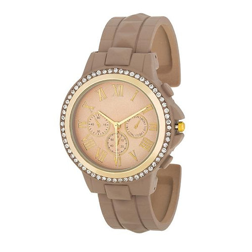 Ava Gold Taupe Watch With Crystals