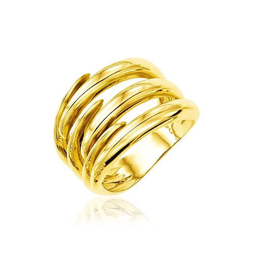 14k Yellow Gold Polished Interlaced Motif Ring