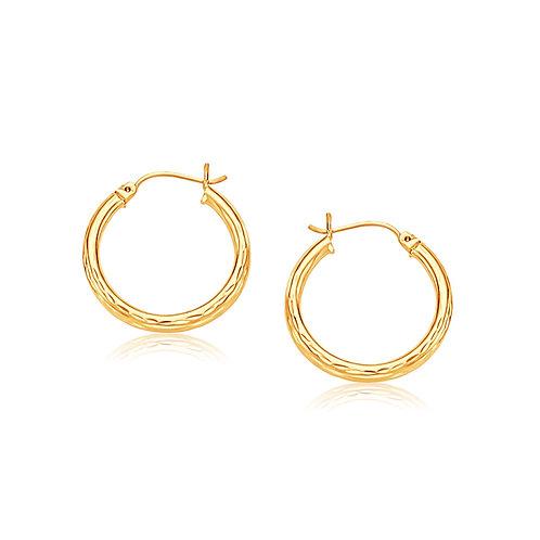 14k Yellow Gold 25mm Diameter Hoop Earring with Diamond-Cut Finish