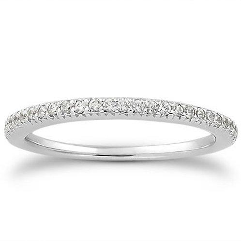 14k White Gold Fancy Engraved Pave Diamond Wedding Ring Band